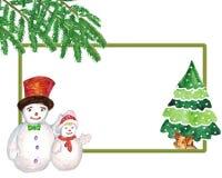 акварель Изображение с снеговиками, желтая свинья рождества под деревом иллюстрация штока