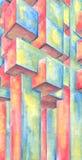 акварель картины абстрактного искусства цветастая иллюстрация штока