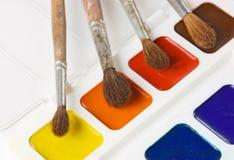 акварель красок щеток Стоковые Изображения