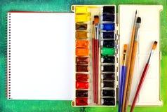 акварель красок щеток Стоковая Фотография RF