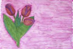 Акварель крася 3 красных тюльпана с фиолетовой границей Стоковое Фото