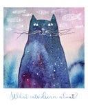 Акварель мечтая кот бесплатная иллюстрация