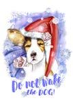 акварель на рождество и Новый Год, собака в шляпе Санта Клауса, шляпе зимы Стоковое Изображение RF