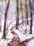 акварель парка ландшафта моста осени малая В лесе, первый снег упал иллюстрация штока