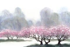 акварель парка ландшафта моста осени малая Цветя деревья около реки Стоковые Изображения