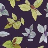 Акварель покрасила листья Элегантные листья для дизайна искусства иллюстрация штока