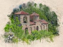 Акварель покрасила старую церковь, крепость assen, Болгарию бесплатная иллюстрация