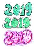 Акварель помечая буквами текст 2019 красочные 20 19 щеток стоковая фотография