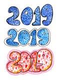 Акварель помечая буквами текст 2019 красочные 20 19 щеток стоковые фото