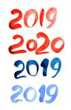 Акварель помечая буквами текст 2019 красочные 20 19 щеток стоковое фото