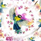Акварель рисуя безшовную картину на теме весны, жары, иллюстрации птицы войск в форме воробьинообразн больших синиц Стоковые Изображения