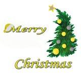 акварель Состав рождества рождественской елки с пестроткаными шариками со звездой с надписью бесплатная иллюстрация