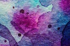акварель текстуры абстрактной предпосылки голубая покрашенная бумажная стоковая фотография rf