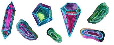 Акварель установила кристаллов на белой предпосылке иллюстрация штока