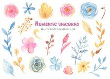 Акварель установила с милым единорогом и цветками пинка мультфильма иллюстрация штока