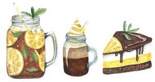 Акварель установила с напитком и помадками иллюстрация вектора