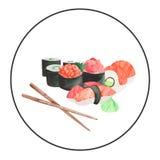 Акварель установила с рамкой суш японской кухни иллюстрация вектора
