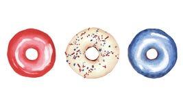Акварель установила с donutsisolated на белой предпосылке цвета государств Unated Америки иллюстрация штока