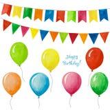 Акварель установленная на день рождения и праздник Воздушные шары и флаги для партии иллюстрация штока