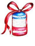 Акварель, французский торт макарон, концепция Дня независимости, случай голубого красного цвета, дня Бастилии, праздника патриоти бесплатная иллюстрация