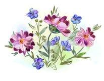 Акварель цветет фиолеты и pansy и выходит на луг Стоковая Фотография RF