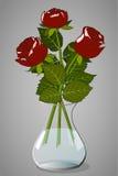 акварели вазы роз картины Стоковая Фотография RF