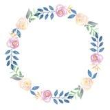 Акварели цветка гирлянды покрашенной венок рукой голубой и розовый флористический Стоковые Фото