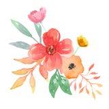 Акварель выходит букет листвы рамки персика весны лета покрашенный рукой Стоковая Фотография RF