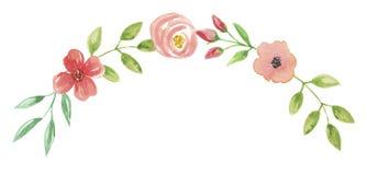 Акварель выходит венок свода листвы рамки персика весны лета покрашенный рукой Стоковое Изображение RF