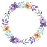 Акварель выходит весне лета фиолетовой покрашенный рукой венок листвы рамки Стоковая Фотография