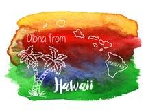 Акварель гаваиская, тропический графический дизайн Стоковые Изображения