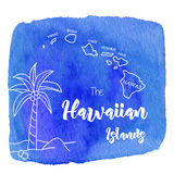 Акварель гаваиская, тропический графический дизайн Стоковые Фото