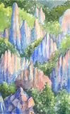 Акварель гор Стоковая Фотография RF