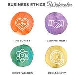 Акварель значка деловой этики установленная бесплатная иллюстрация