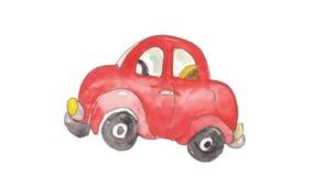 Акварель и красочный красный автомобиль Стоковое Фото