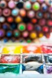 Акварель и crayons Стоковая Фотография