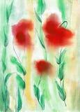 Акварель красных цветов сценарная Стоковое Изображение