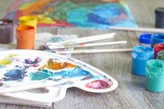 Акварель красок плаката с концепцией щеток абстрактной Стоковая Фотография