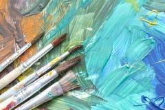 Акварель красок плаката с концепцией щеток абстрактной Стоковая Фотография RF