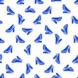 Акварель обувает безшовную картину Предпосылка моды вектора с красить голубые ботинки Стоковые Фотографии RF