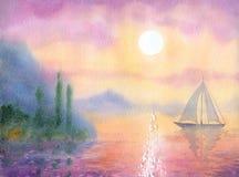 акварель парка ландшафта моста осени малая Вечер парусника на море тихий Стоковые Изображения
