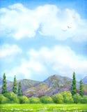 акварель парка ландшафта моста осени малая Облачное небо над цветениями долины Стоковое Изображение RF
