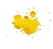 Акварель, помарка желтого цвета Стоковая Фотография
