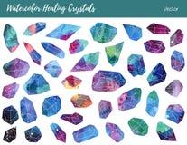 Акварель, драгоценные камни вектора, заживление кристаллы Стоковые Изображения