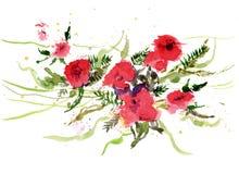 Акварель рисуя яркие красные цветки Стоковые Фотографии RF