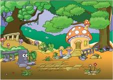 акварель села иллюстраций дома шаржа селитебная Стоковые Изображения