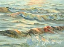 Акварель солнца моря вечера Стоковое Изображение