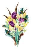 Акварель цветет букет, дизайн карточки сада Стоковые Фото