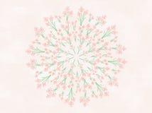 Акварель цветет флористическая иллюстрация мандалы Стоковые Изображения