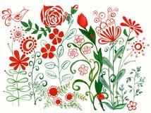 Акварель цветет часть впечатления картины Стоковое Фото